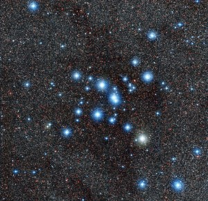 "Messier 7 is a cluster of stars that can be seen easily with the naked eye. You will find the cluster in the ""stinger"" of the constellation many of us know as Scorpius (the Scorpion). Credit: ESO"
