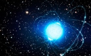 An artist has drawn this picture of a distant magnetar to give us an idea what it would look like close-up. The star is extremely hot and compact, which is why it would glow this bright blue-white colour. You wouldn't actually see the funky arcs coming out of the star, these are supposed to emphasise the star's ultra-strong magnetic field. However, in reality, magnetic fields are invisible. Credit: ESO/L. Calçada