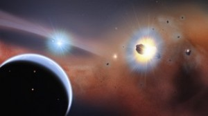 New observations of the nearby star Beta Pictoris show that the disc contains lots of carbon monoxide gas. The gas is being constantly delivered by comets, asteroids and small planets as they crash into each other and shatter apart. Credit: NASA's Goddard Space Flight Center/F. Reddy