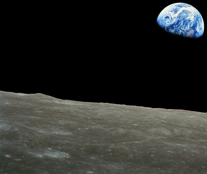 "What do the Earth and Moon have in common? Find out with TerraLuna. (""Earthrise"" by the Apollo 8 crew.)"