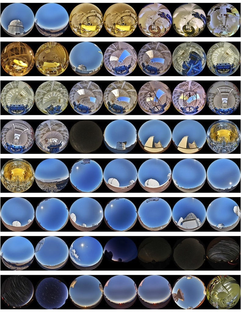 Contact sheet for all 56 fulldome stills of the Mauna Kea Observatories