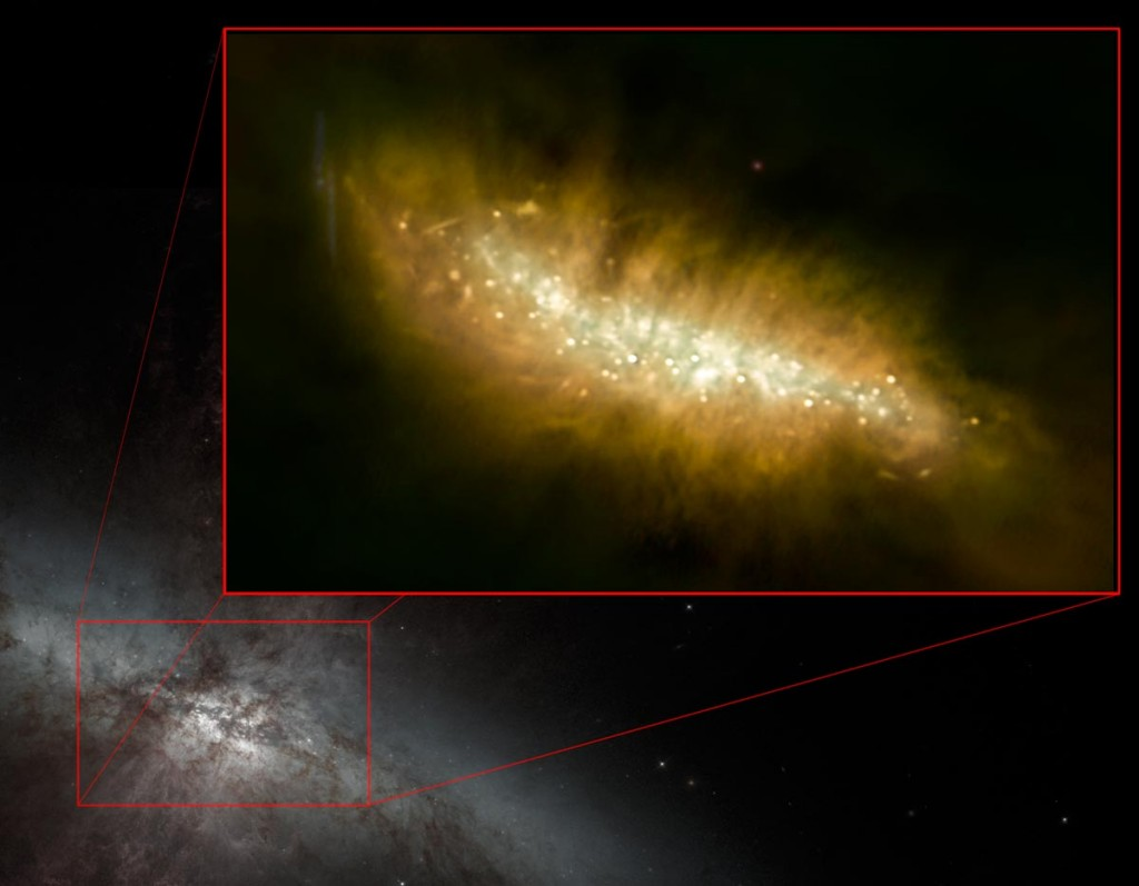M82 VLA image inset over optical image