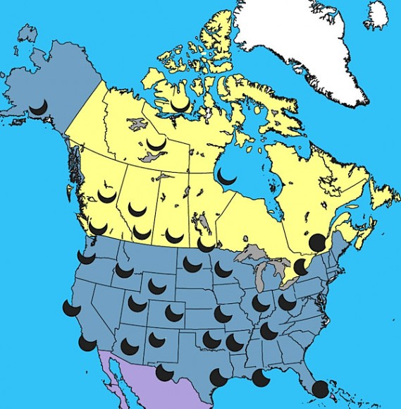 How the eclipse will appear at maximum around US and Canada. Credit Jay Anderson