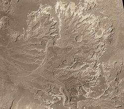 Drainage area in the Margaritifer Sinus region on Mars. If Mars had a warm/wet past, this region would have been expected to be desert.