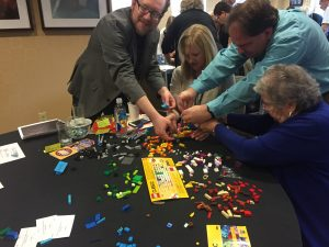 Working together on Lego Rovers. Credit: Pamela Gay