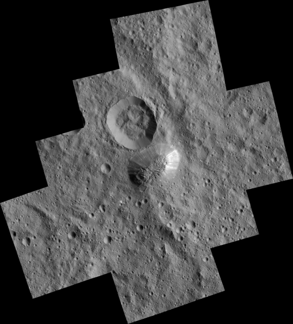 Ceres' mysterious mountain Ahuna Mons is seen in this mosaic of images from NASA's Dawn spacecraft. Credits: NASA/JPL-Caltech/UCLA/MPS/DLR/IDA