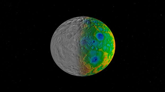 Scientists with NASA's Dawn mission were surprised to find that Ceres has no clear signs of truly giant impact basins. This image shows both visible (left) and topographic (right) mapping data from Dawn. Credit: NASA/JPL-Caltech/SwRI.