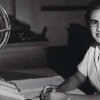 "Katherine Johnson sits at her desk with a globe, or ""Celestial Training Device.""  Credits: NASA"