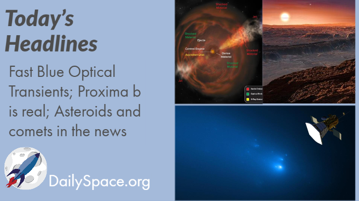Fast Blue Optical Transients; Proxima b is real; Asteroids and comets in the news