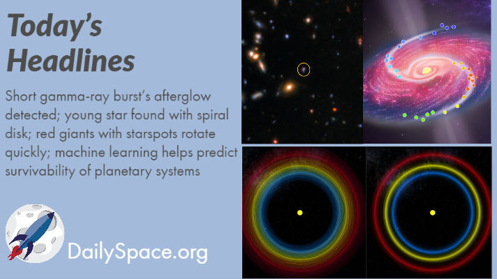 Short gamma-ray burst's afterglow detected; young star found with spiral disk; red giants with starspots rotate quickly; machine learning helps predict survivability of planetary systems