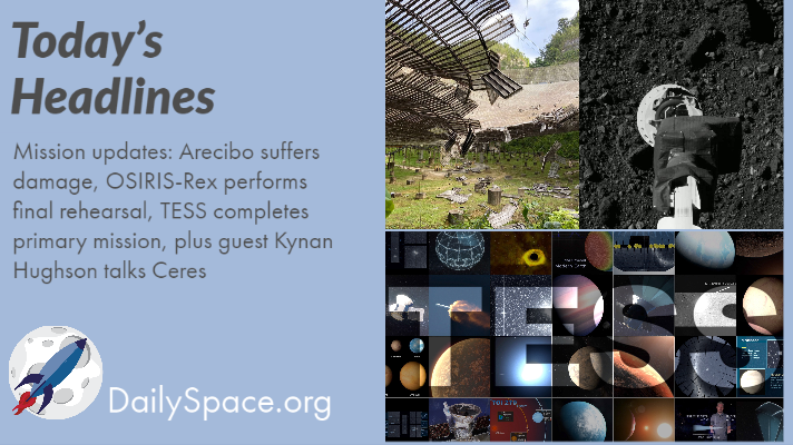 Mission updates: Arecibo suffers damage, OSIRIS-Rex performs final rehearsal, TESS completes primary mission, plus guest Kynan Hughson talks Ceres