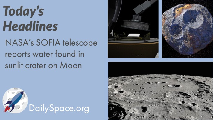 NASA's SOFIA telescope reports water found in sunlit crater on Moon