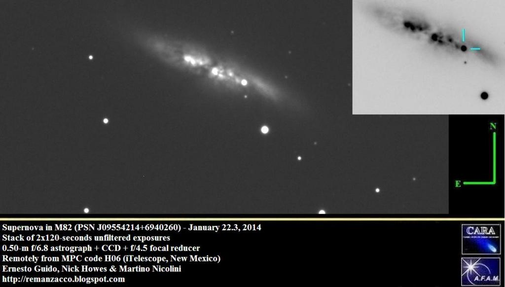 Image of M82 pointing out the new supernova