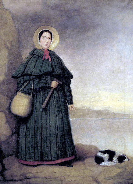 Portrait of Mary Anning with her dog Tray and the Golden Cap outcrop in the background, Natural History Museum, London. This painting was owned by her brother Joseph, and presented to the museum in 1935 by Miss Annette Anning.