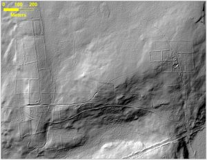 This bare-earth lidar image of the same area gives a view beneath the overgrown vegetation, where there are remnants of stone walls, building foundations, abandoned roads and what was once cleared farm land. Credits: Katharine Johnson